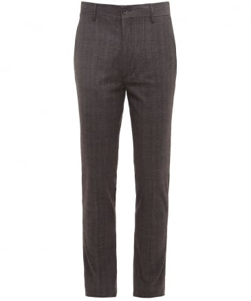 Slim Fit Cotton Prince of Wales Check Trousers