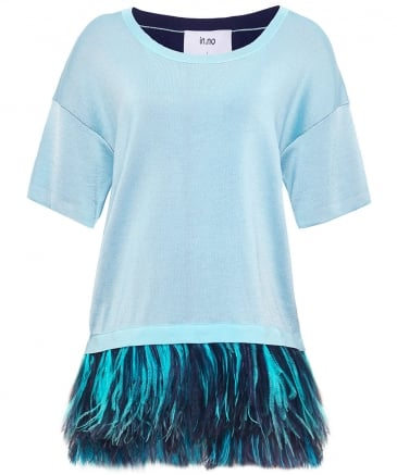 Cashmere Blend Adele Feather Trim Top