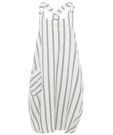 Striped Midi Dungarees Dress