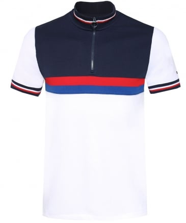 Slim Fit Zip Colour Block Polo Shirt