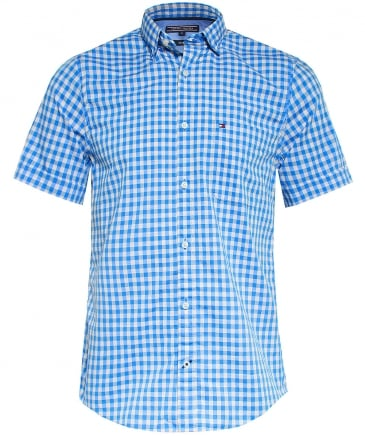 Slim Fit Short Sleeve Gingham Shirt