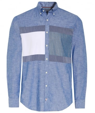 Regular Fit Chambray Flag Patch Shirt