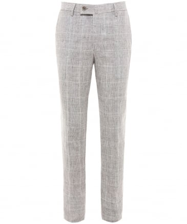Slim Fit Linen Check Trousers