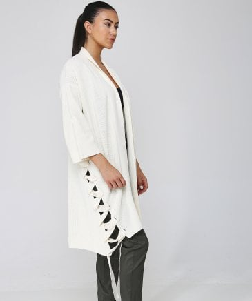 Crea Concept Women's Lace Up Knitted Cardigan
