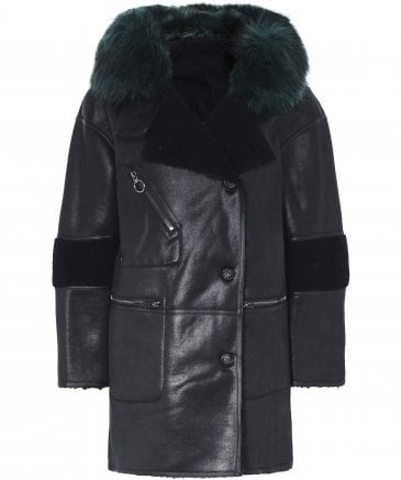 Urban Code Women's Faux Shearling Reversible Duffle Coat