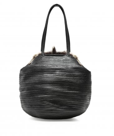 Majo Women's Leather Fur Trim Bag