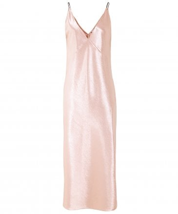 Vince Women's Metallic Satin V-Neck Dress