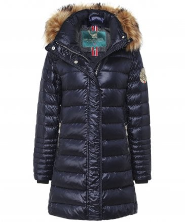 Holland Cooper St Moritz Faux Fur Trim Down Quilted Parka