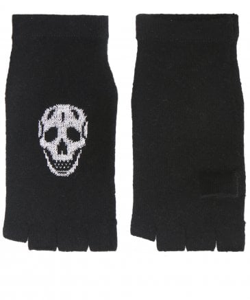 360 Sweater Women's Wool & Cashmere Kaley Skull Fingerless Gloves