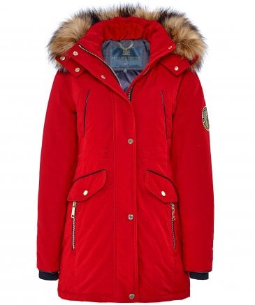 Holland Cooper Women's Mountaineer Faux Fur Trim Parka