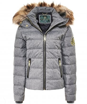 Holland Cooper Women's Tignes Tweed Faux Fur Trim Down Puffer Coat