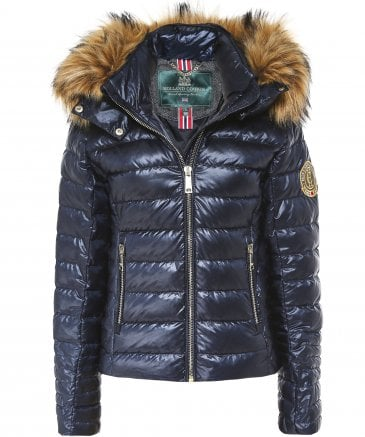 Holland Cooper Women's Zermatt Faux Fur Trim Down Puffer Coat