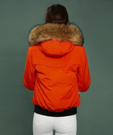 Holland Cooper Women's Cortina Faux Fur Trim Down Bomber Jacket