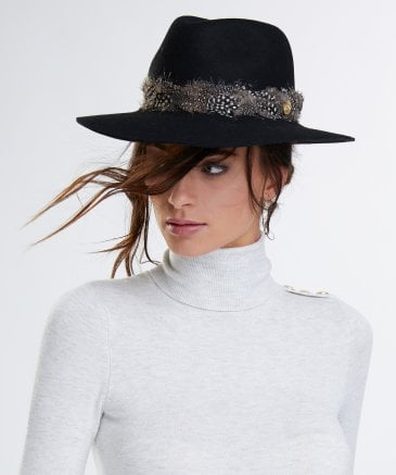 Holland Cooper Women's Grayson Trilby Hat with Feather Band