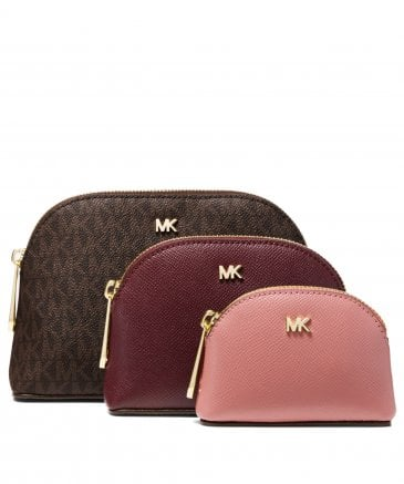 Michael Kors Women's Leather and Logo Travel Pouch Trio