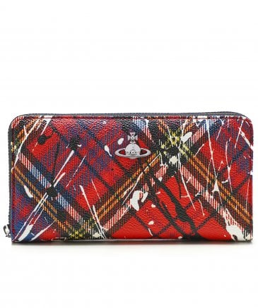 Vivienne Westwood Women's Leather Zip-Around Derby Paint Splash Wallet