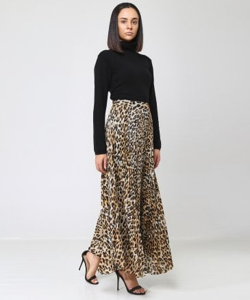 210639241d Alice and Olivia Multi Coloured Katz Leopard Print Pleated Maxi Skirt