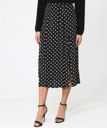 RIXO Women's Silk Georgia Spot Print Skirt