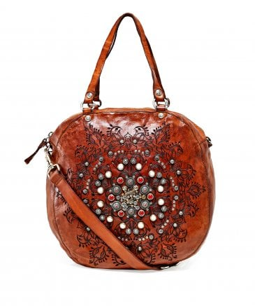 Campomaggi Women's Leather Studded Western Round Bag