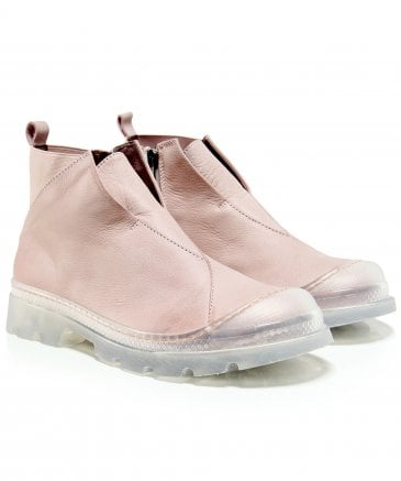 Lofina Women's Pink Leather Ankle Booties