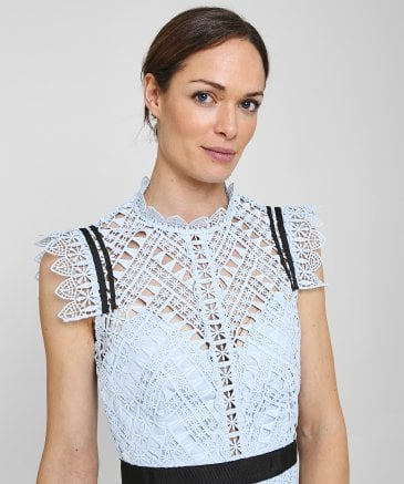 Self-Portrait Women's Abstract Triangle Lace Midi Dress
