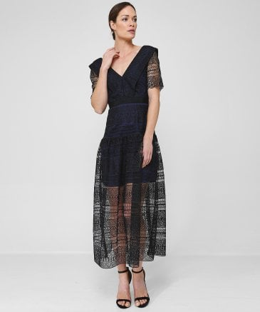 Self-Portrait Women's Spiral Panel Lace Midi Dress