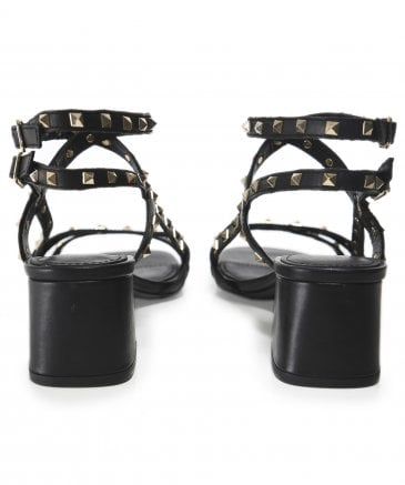 Ash Women's Leather Iman Studded Block Heel Sandals