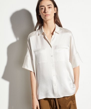 Vince Women's Silk Short Sleeve Blouse