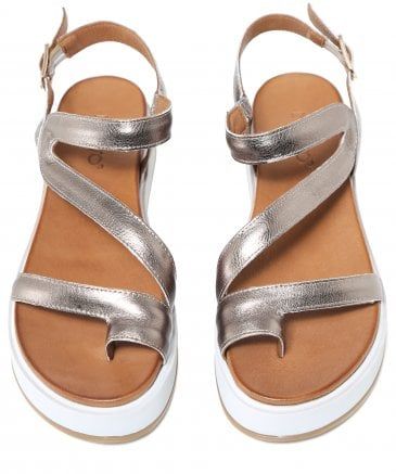Inuovo Women's Leather Toe Post Wedge Sandals