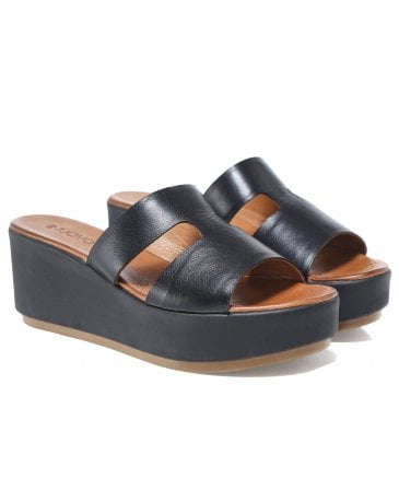 Inuovo Women's Leather Double Strap T-Bar Wedge Sandals