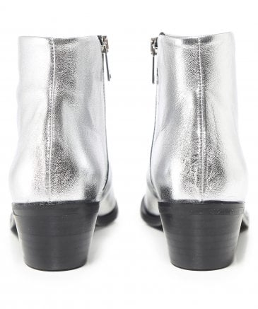 Ma&Lo Women's Metallic Leather Ankle Boots