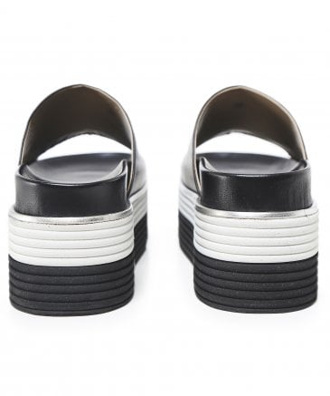 Ma&Lo Women's Leather Platform Sliders
