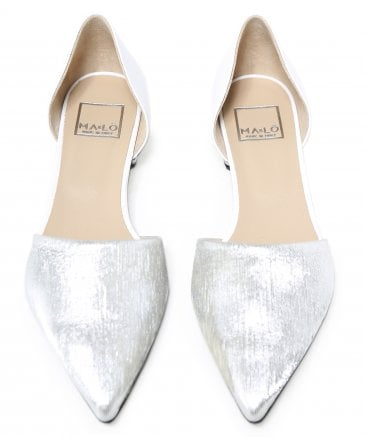 Ma&Lo Women's Leather Metallic Contrast Flats