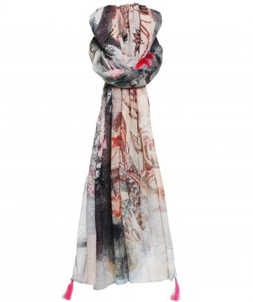 Ahujasons Women's Abstract Script Print Scarf