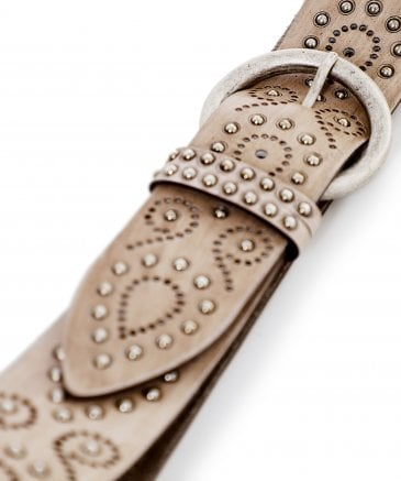 Nanni Women's Painted Studded Leather Belt