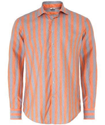 Fitted Body Linen Blend Striped Shirt