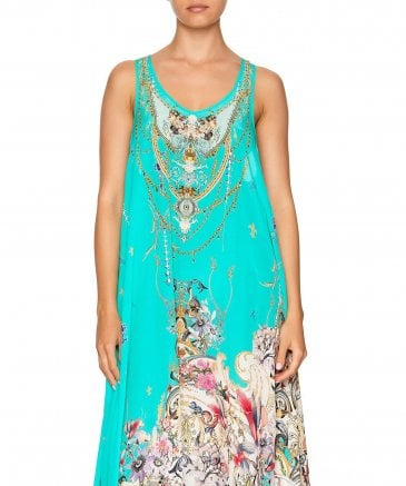 Camilla Women's Silk Floraison V-Neck Racer Back Dress