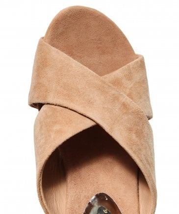 Alma en Pena Women's Crossover Suede Mules with Gemstone Heel