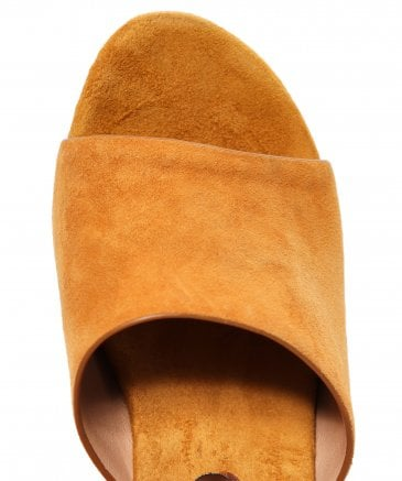 Alma en Pena Women's Suede Mules with Gemstone Heel