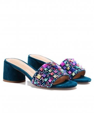 Alma en Pena Women's New York Beaded Suede Mules