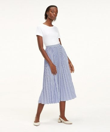 Tommy Hilfiger Women's Daisy Stripe Pleated Midi Skirt