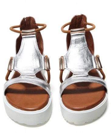 Inuovo Women's Leather Gladiator Wedge Sandals