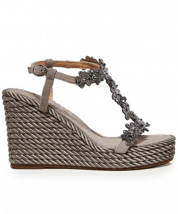 Alma en Pena Women's Suede Diamanté Wedge Sandals