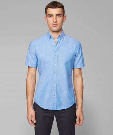 BOSS Men's Slim Fit Linen Blend Roddy_2 Shirt