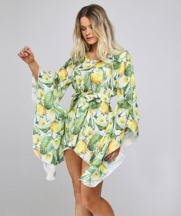 Luisa Positano Women's Vanessa Lemon Print Kaftan Dress
