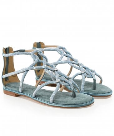 Alma en Pena Women's Suede Diamanté Gladiator Sandals
