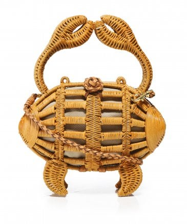 Aranaz Women's Large Crab Wicker Clutch Bag
