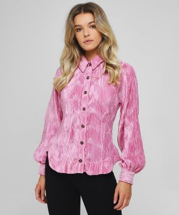 Ganni Women's Pleated Satin Shirt