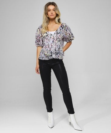 Ganni Women's Pleated Floral Georgette Blouse