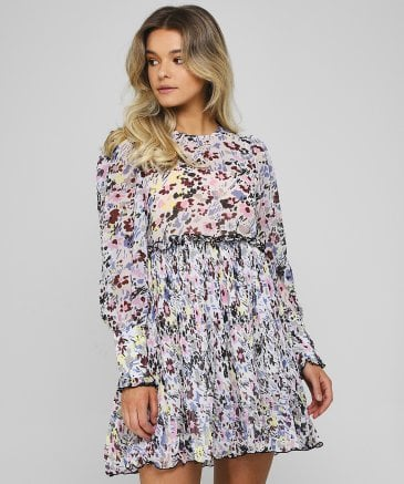 Ganni Women's Pleated Floral Georgette Dress